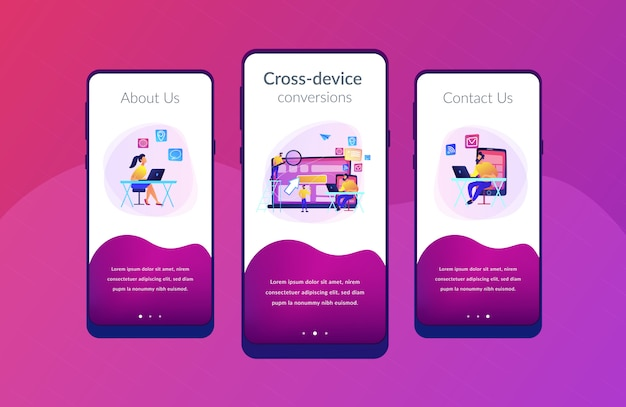 Szablon interfejsu aplikacji do śledzenia na różnych urządzeniach.