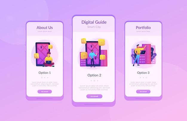 Szablon interfejsu aplikacji inteligentnego miasta i cyfrowego przewodnika po mieście.