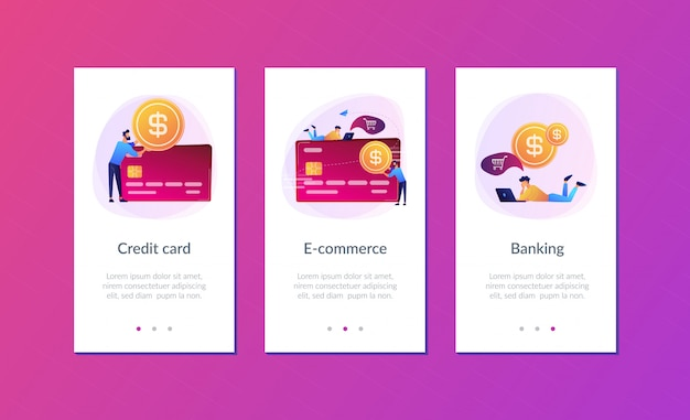 Szablon interfejsu aplikacji karty kredytowej.