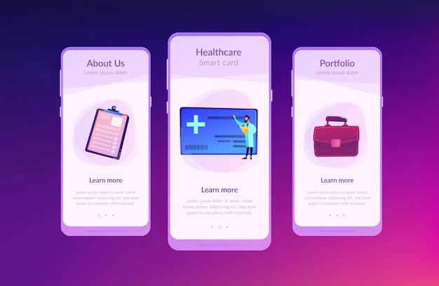 Szablon interfejsu aplikacji karty opieki zdrowotnej.