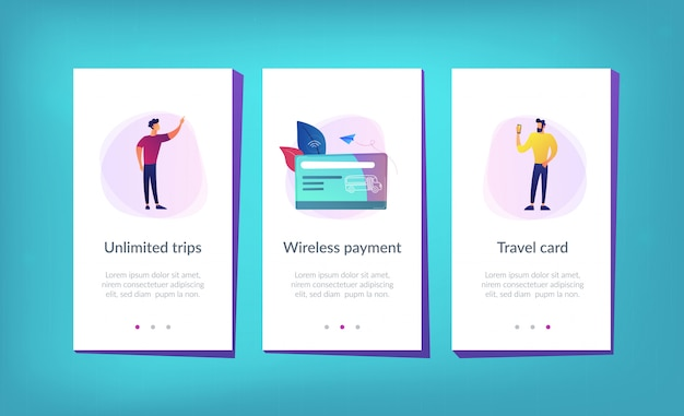 Szablon interfejsu aplikacji karty podróży transportu publicznego.