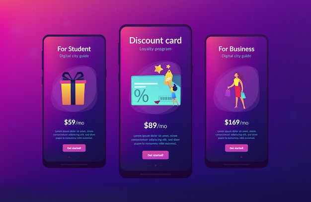 Szablon interfejsu aplikacji karty rabatowej i lojalnościowej.