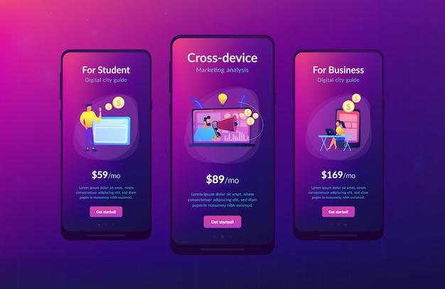 Szablon interfejsu aplikacji marketingowej na różne urządzenia.