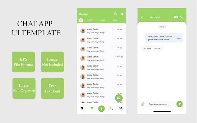Szablon interfejsu aplikacji mobilnej czatu