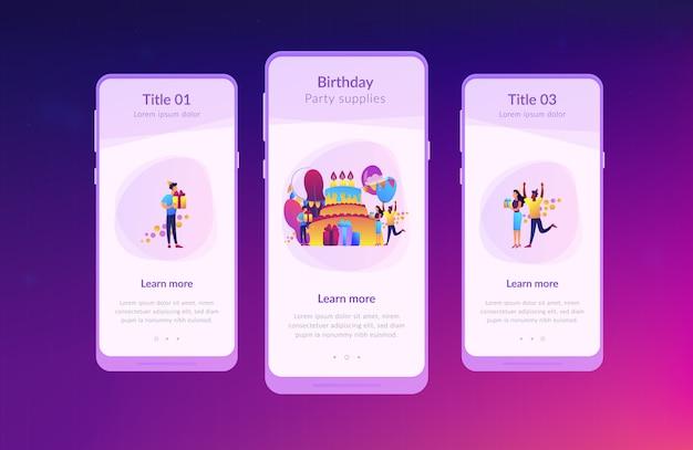 Szablon interfejsu aplikacji na przyjęcie urodzinowe.