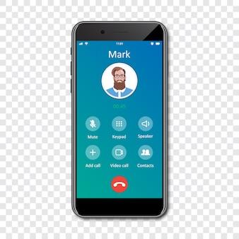 Szablon interfejsu aplikacji na smartfony na przezroczystym. połączenie przychodzące .