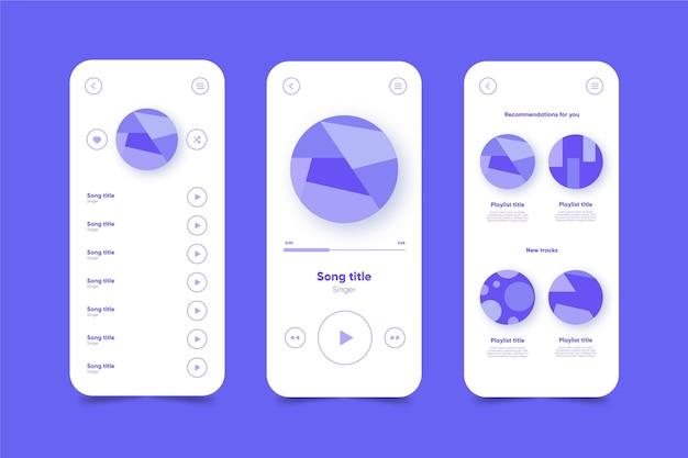 Szablon interfejsu aplikacji odtwarzacza muzyki
