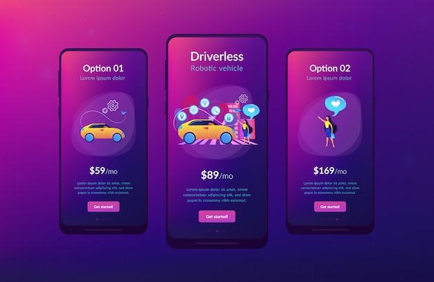 Szablon interfejsu aplikacji samochodu autonomicznego.
