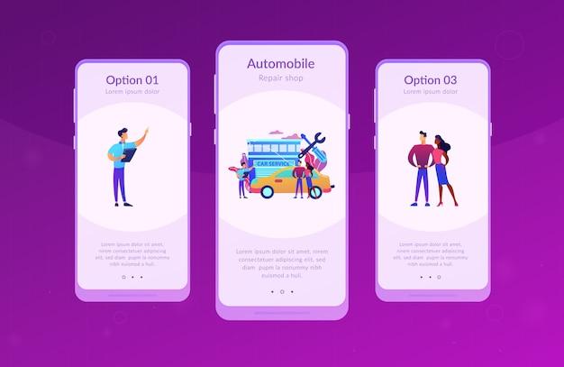 Szablon interfejsu aplikacji serwisu samochodowego.
