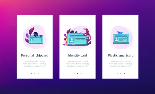 Szablon interfejsu aplikacji smart id card.