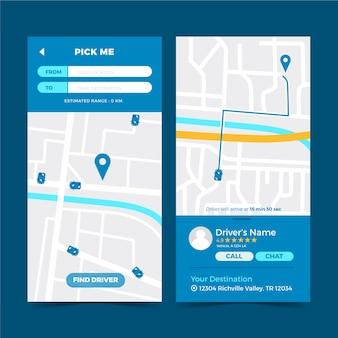 Szablon interfejsu aplikacji taxi