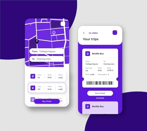 Szablon interfejsu aplikacji transportu publicznego na smartfonie