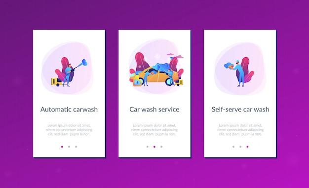 Szablon interfejsu aplikacji usługi mycia samochodów.