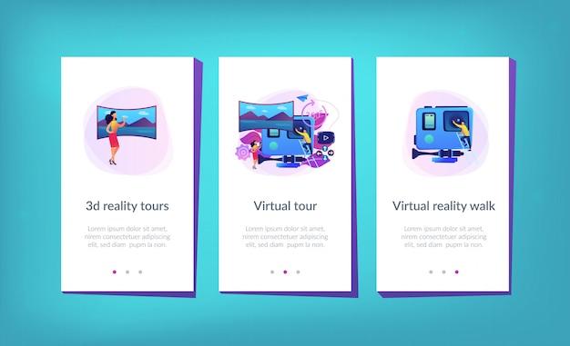 Szablon interfejsu aplikacji wirtualnej wycieczki.