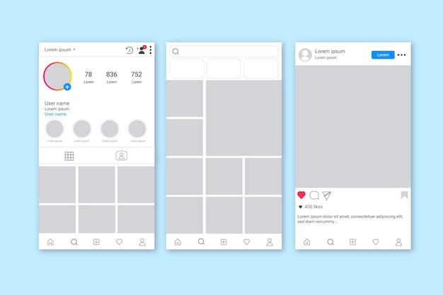 Szablon interfejsu historii na instagramie