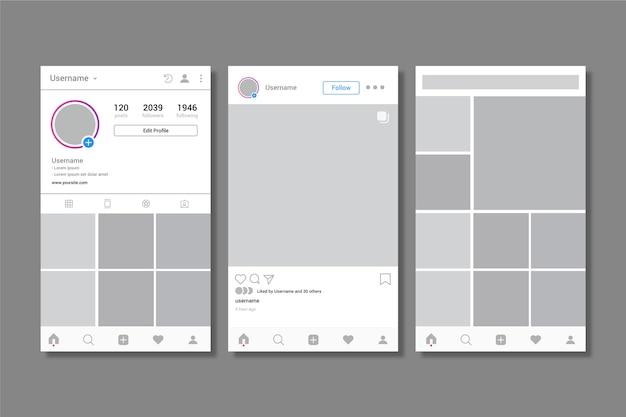Szablon interfejsu profilu na instagramie