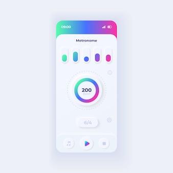 Szablon interfejsu smartfona aplikacji metronomu. układ światła strony aplikacji mobilnej. ekran wspomagania rytmu muzycznego. interfejs użytkownika do aplikacji. ilość uderzeń na minutę na wyświetlaczu telefonu.