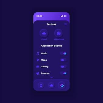 Szablon interfejsu smartfona aplikacji ustawień dźwięku natury