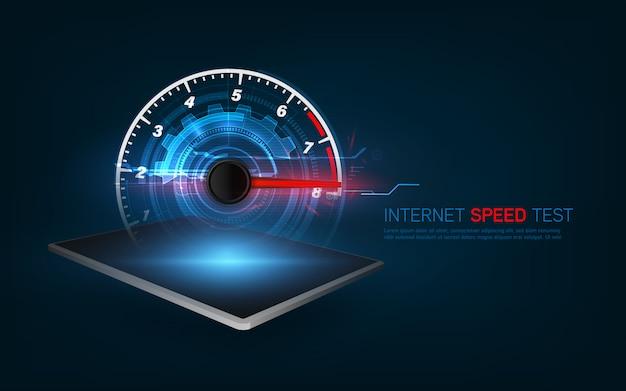 Szablon interfejsu smartfona do testowania prędkości internetu.
