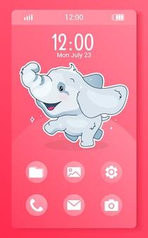 Szablon interfejsu smartfona na ekranie głównym z postacią słonia kawaii. różowy układ strony aplikacji mobilnej. interfejs użytkownika strony głównej kreskówki dla aplikacji dla dzieci. wyświetlacz telefonu ze zwierzęciem anime, ikonami aplikacji i zakładkami