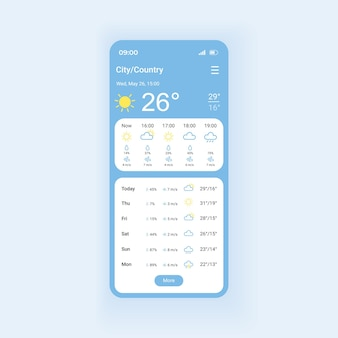 Szablon interfejsu smartfona prognozy pogody