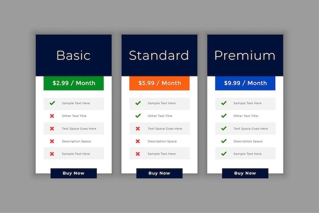 Szablon interfejsu tabeli cen dla biznesu