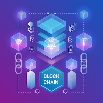 Szablon izometryczny koncepcja kryptowaluty i blockchain. izometryczne ilustracji. projektowanie stron internetowych, baner prezentacji.