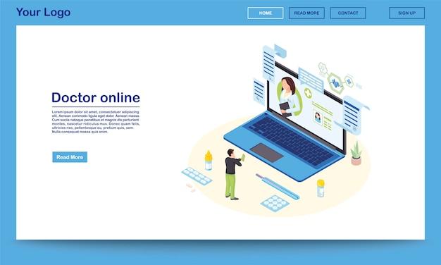 Szablon izometryczny strona docelowa usługi lekarza online 3d lekarz konsultacji z pacjentem, przepisując lek. witryna promocyjna systemu ehealth z miejscem na tekst. klient kontaktuje się ze zdalnym specjalistą medycznym