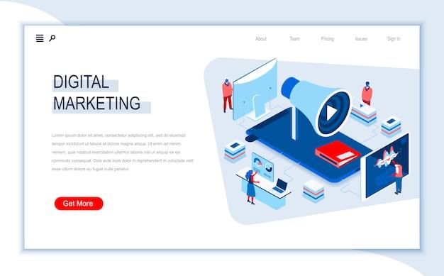 Szablon izometryczny strony docelowej marketingu cyfrowego.