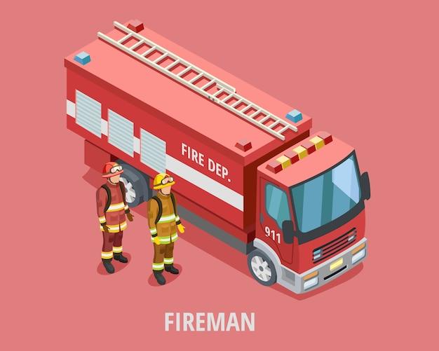 Szablon izometryczny zawód strażaka