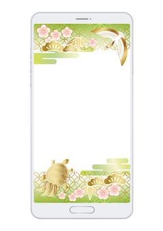 Szablon japońskiego lub chińskiego nowego roku wyświetlany na ekranie smartfona.