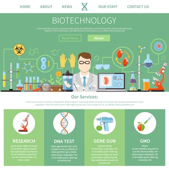 Szablon jednej strony biotechnologii i genetyki