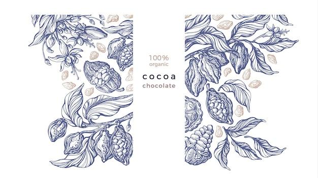 Szablon kakao. vintage ręcznie rysowane drzewo, fasola, owoce tropikalne, szkic liści. grawerowany styl