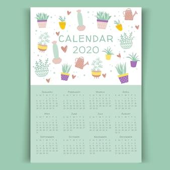 Szablon kaktus kwiatowy kalendarz 2020