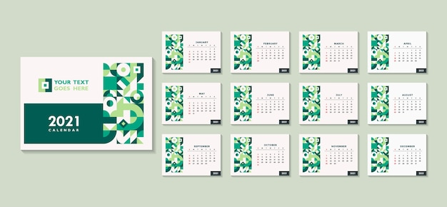 Szablon kalendarza 2021 na abstrakcyjnym geometrycznym minimalnym motywie