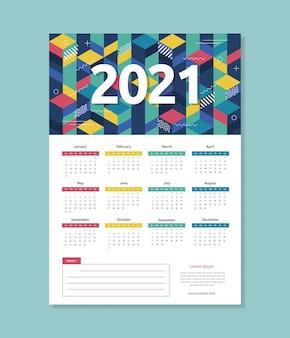 Szablon kalendarza 2021 streszczenie geometryczny styl