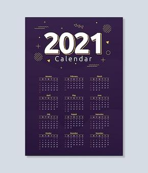 Szablon kalendarza 2021 w abstrakcyjnym stylu geometrycznym