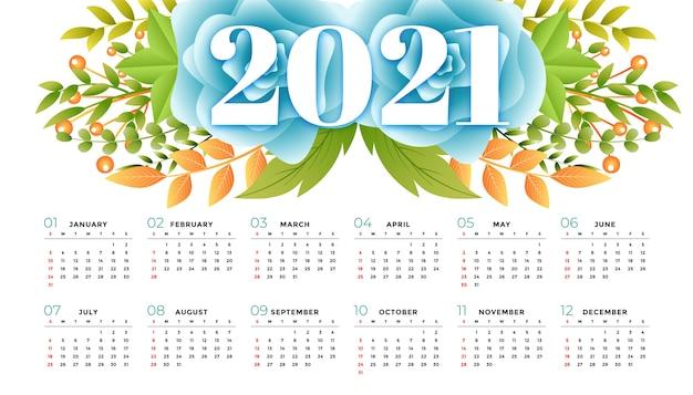 Szablon kalendarza 2021 w stylu kwiatowym