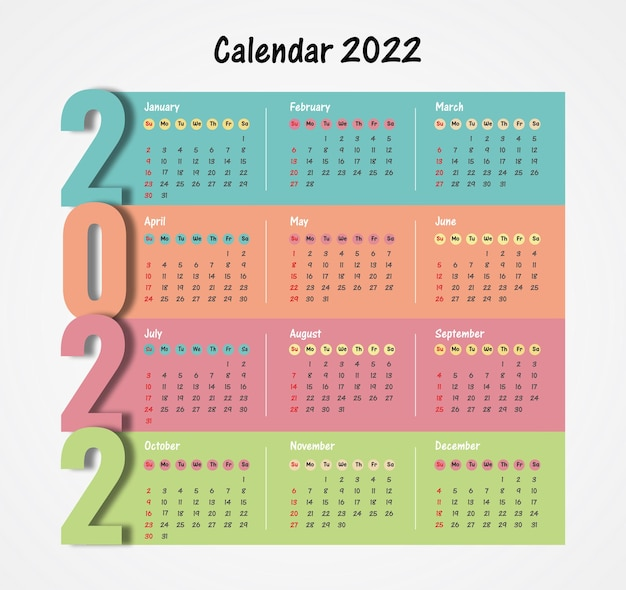 Szablon kalendarza 2022 prosty i elegancki