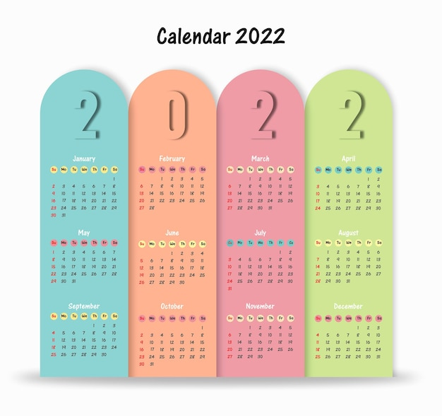 Szablon kalendarza 2022 prosty projekt