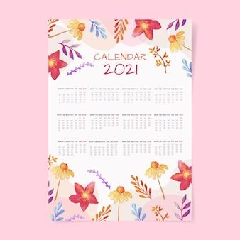 Szablon kalendarza akwarela nowy rok 2021