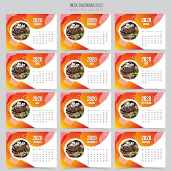 Szablon kalendarza biurko żywności 2020