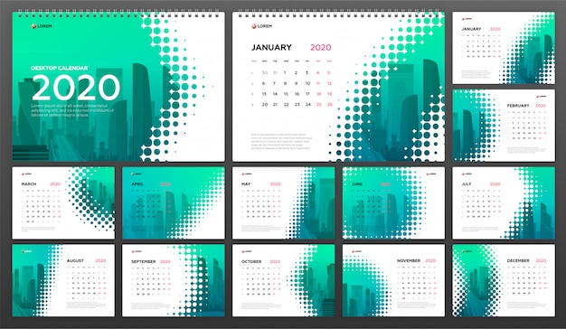 Szablon kalendarza biurkowego 2020 dla biznesu