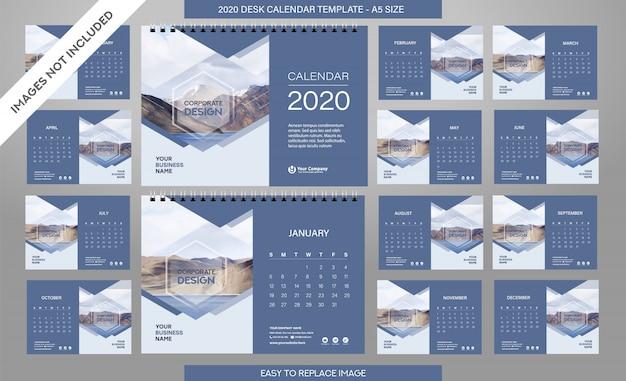 Szablon kalendarza biurkowego 2020 obejmuje wszystkie miesiące