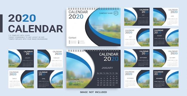 Szablon kalendarza biurkowego 2020