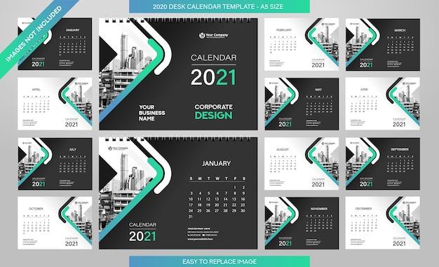 Szablon kalendarza biurkowego 2021 - 12 miesięcy w zestawie