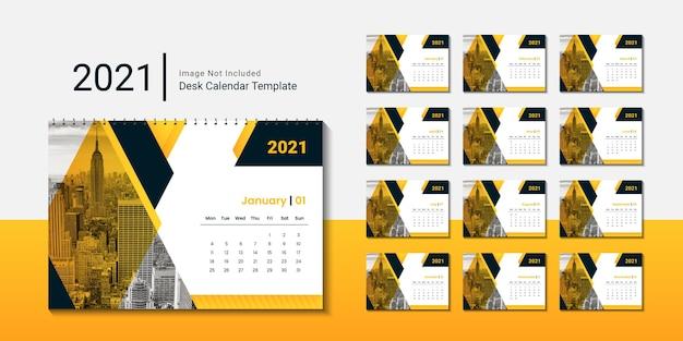 Szablon kalendarza biurkowego 2021 dla firmy korporacyjnej z kreatywnym projektem