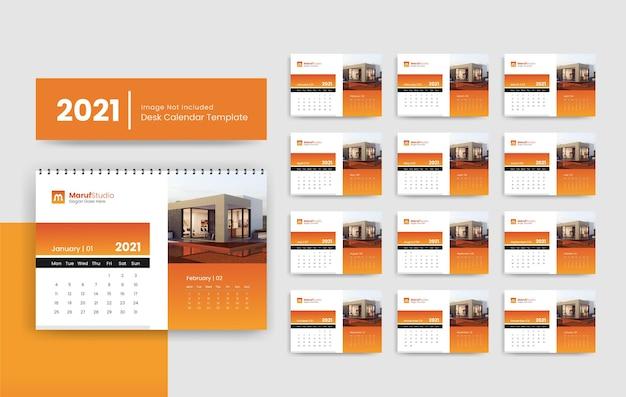 Szablon kalendarza biurkowego 2021 dla firmy z branży nieruchomości