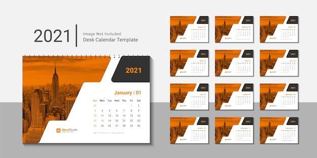Szablon kalendarza biurkowego 2021 z kreatywnym projektem