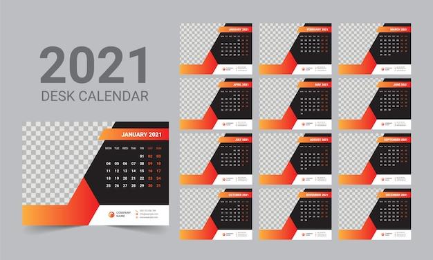 Szablon kalendarza biurkowego 2021